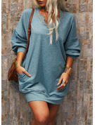 Lace Solid Shift Long Sleeves Mini Casual Tunic Dresses