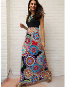 Print A-line Sleeveless Maxi Boho Casual Vacation Skater Dresses