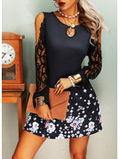 Floral Lace Print Shift Cold Shoulder Sleeve Long Sleeves Mini Casual Vacation Tunic Dresses