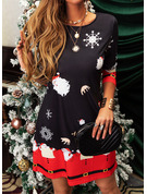 Print Shift Long Sleeves Midi Casual Christmas Tunic Dresses