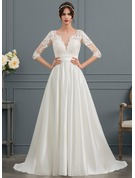 Ball-Gown/Princess Scoop Neck Court Train Satin Wedding Dress With Ruffle