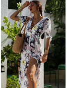 Floral Print A-line Short Sleeves Midi Casual Skater Dresses