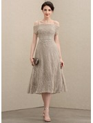 A-Line Off-the-Shoulder Tea-Length Lace Mother of the Bride Dress With Beading