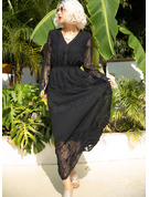Solid A-line 3/4 Sleeves Maxi Little Black Casual Skater Dresses