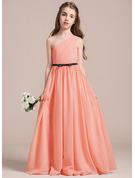 A-Line One-Shoulder Floor-Length Chiffon Junior Bridesmaid Dress With Ruffle Bow(s)