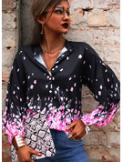 Floreale Stampa Scollatura a V 3/4 maniche Bottone Casuale Shirt and Blouses