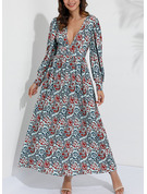 Print A-line Long Sleeves Maxi Boho Vacation Skater Dresses