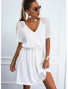 Solid A-line 1/2 Sleeves Mini Casual Skater Dresses