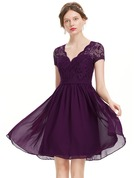 A-Line V-neck Knee-Length Chiffon Homecoming Dress