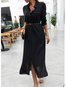 Solid A-line Long Sleeves Maxi Little Black Shirt Dresses