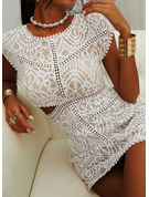 Lace Bodycon Short Sleeves Mini Casual Sexy Dresses