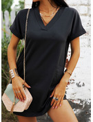 Solid Shift Short Sleeves Mini Little Black Casual T-shirt Dresses