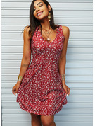 Floral Print A-line Sleeveless Midi Casual Vacation Skater Dresses