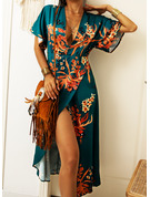 Floral Print Sheath 3/4 Sleeves Midi Elegant Vacation Dresses