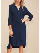 Solid Shift 3/4 Sleeves Asymmetrical Casual Elegant Tunic Dresses