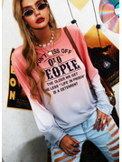 Tie Dye Figure Print Round Neck Long Sleeves Casual T-shirt