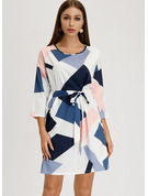 Geometric Print Sheath 3/4 Sleeves Midi Casual Dresses