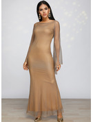 Sequins Sheath Long Sleeves Maxi Party Elegant Dresses