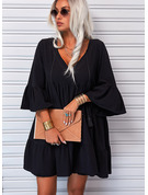 Solid Shift 3/4 Sleeves Flare Sleeve Mini Little Black Casual Tunic Dresses