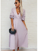 Solid A-line Long Sleeves Maxi Casual Skater Dresses