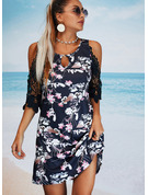 Floral Lace Print A-line Sleeveless Mini Casual Vacation Skater Dresses