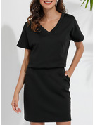 Solid Bodycon Short Sleeves Mini Little Black Casual Dresses