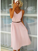 Solid A-line Sleeveless Midi Casual Dresses