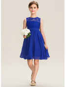 A-Line Scoop Neck Knee-Length Chiffon Lace Junior Bridesmaid Dress