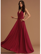 A-line V-Neck Sleeveless Maxi Back Details Romantic Sexy Dresses
