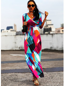 Print A-line 3/4 Sleeves Maxi Casual Skater Wrap Dresses