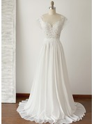 A-Line/Princess Scoop Neck Floor-Length Chiffon Wedding Dress