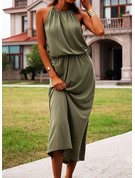 Solid A-line Sleeveless Maxi Casual Type Dresses