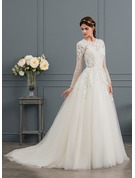 Ball-Gown/Princess Scoop Neck Chapel Train Tulle Wedding Dress With Beading Sequins