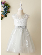 A-Line Knee-length Flower Girl Dress - Satin/Tulle Sleeveless Scoop Neck With Lace/Appliques