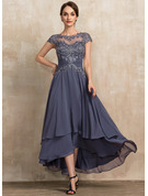 A-Line Scoop Neck Asymmetrical Chiffon Lace Cocktail Dress With Beading
