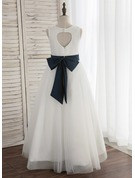 A-Line/Princess Floor-length Flower Girl Dress - Satin/Tulle Sleeveless Scoop Neck With Back Hole (Undetachable sash)