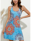 Floral Print Sheath Sleeveless Mini Sexy Vacation Tank Dresses