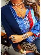 Color Block Print V-Neck Long Sleeves Button Up Casual Shirt Blouses