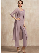 Square Neckline Ankle-Length Chiffon Mother of the Bride Dress With Ruffle