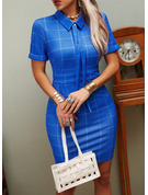Plaid Bodycon Short Sleeves Mini Casual Elegant Dresses
