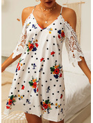 Floral Lace PolkaDot Print Shift 1/2 Sleeves Cold Shoulder Sleeve Mini Casual Dresses