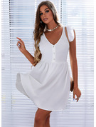 Solid A-line Short Sleeves Mini Casual Skater Dresses
