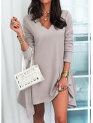 Solid Shift Long Sleeves Mini Casual Tunic Dresses