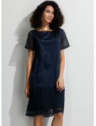 Lace Solid Shift Short Sleeves Midi Casual Elegant T-shirt Dresses