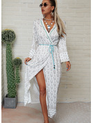 Print A-line Long Sleeves Maxi Boho Casual Vacation Skater Dresses