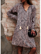 Leopard Shift Lantern Sleeve Long Sleeves Mini Casual Vacation Tunic Dresses