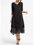 Lace Solid A-line 3/4 Sleeves Midi Little Black Elegant Skater Dresses