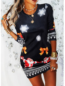 Print Bodycon Long Sleeves Mini Casual Christmas Dresses