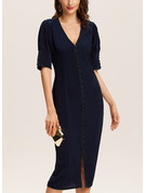 Solid Bodycon Puff Sleeves Short Sleeves Midi Party Pencil Dresses
