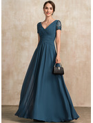 A-Line V-neck Floor-Length Chiffon Mother of the Bride Dress With Lace